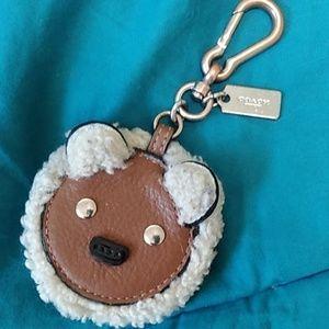 Shearling & Leather Coach NY teddy bear keychain